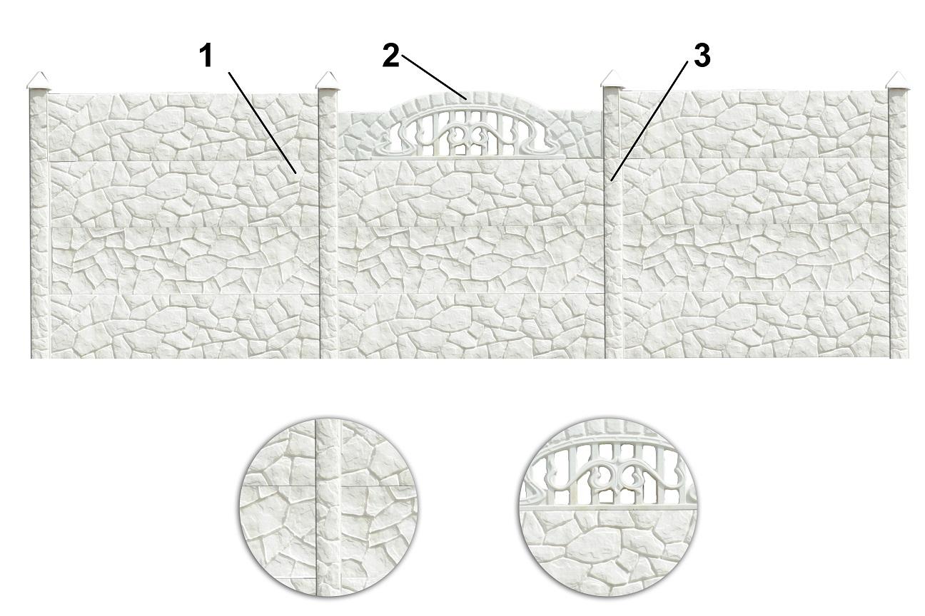 Sziklamintás betonkerítés